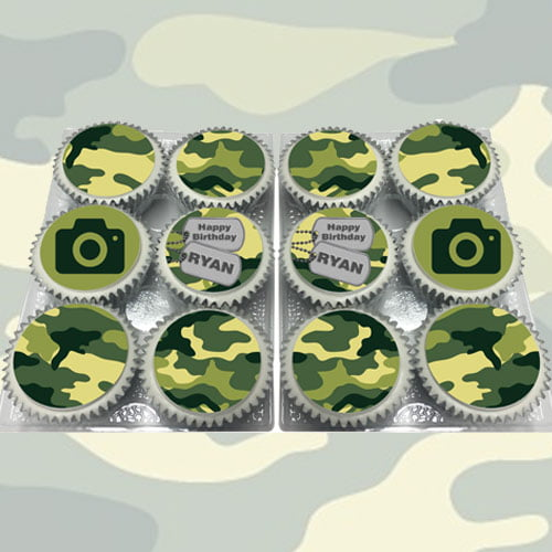 Buy Personalised Camo Cupcakes