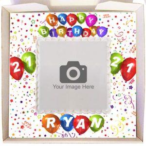 Gift Cake Happy Birthday Balloons Frame