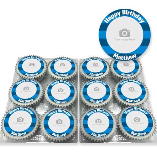 Blue Striped Photo Cupcakes